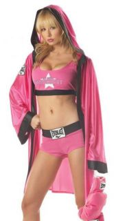 Sexy Pink Everlast Boxer Girl Fighter Fancy Dress Halloween Costume