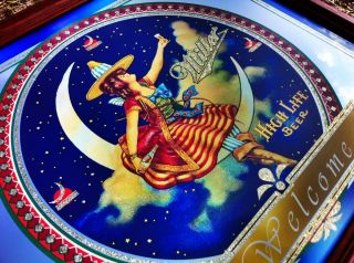 Girl in The Moon Beautiful Gold Flake Beer Bar Mirror Sign New