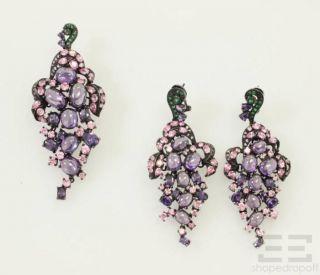 Sterling Silver Purple Clustered Gemstone Brooch Earrings Set