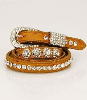 Hill Country Girls Narrow Saddle Tan Western Cowgirl Belt rhinestone
