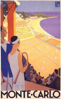Monte Carlo Girl Tennis Monaco Game Sport Poster Repro Small