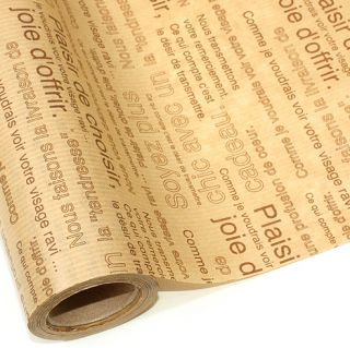 Beige Brown Lettering Gift Wrapping Paper Roll 59 ft 18 Metres