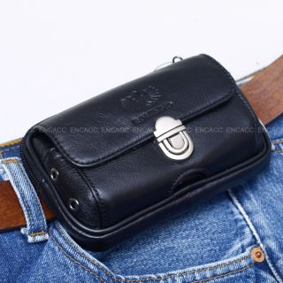 New Mens Genuine Leather Pocket Belt Loops Waist Bag Pouch Wallet