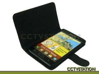 Black Leather Case Stand Screen Protector Stylus for Samsung Galaxy