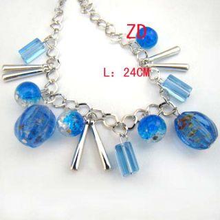 A019X Lot 6 Murano Glass Crystal Pumpkin Beads Bracelet
