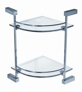 Art of Bath Bathroom Corner Two Tier Glass Shelf L0612B