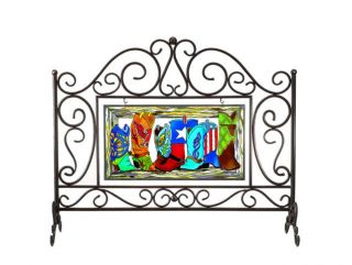 Western Cowboy Boots Stained Glass Fireplace Screen