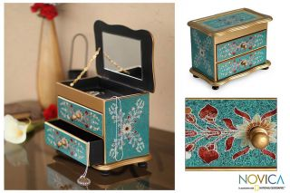 Turquoise Peru Reverse Painted Glass Jewelry Box Novica