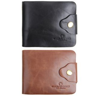 Mens Genuine Leather Trifold Wallet Multi Pocket Purse Button Clutch