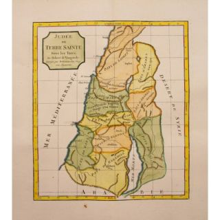 1795 Large Atlas Map Holy Land Palestina by Vaugondy