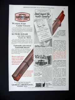 George Brown Browns Supercedar Cedar Closet Lining 1927 Print Ad