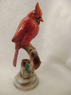 VINTAGE 1940s WILL GEORGE CALIFORNIA POTTERY CARDINAL BIRD FLOWER FROG