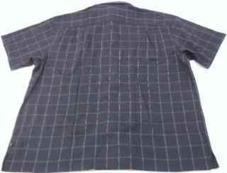 Geoffrey Beene Mens Black White Plaid Button Front Short Sleeve Shirt