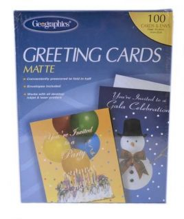 Geographics 100 Greeting Cards White Card Stock w Envelopes New SEALED