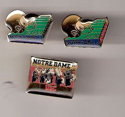 Three Different Notre Dame Game Day Lapel Football Pins