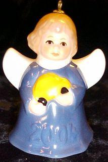 Goebel 2004 Annual Angel Bell Christmas Ornament Blue