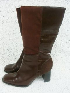 George Ladies Womens Brown High Heel Boots Shoes Sz 6 5