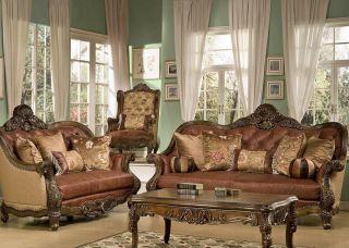 Glendora High End Formal Leather Sofa Loveseat Furniture Set Wood Trim