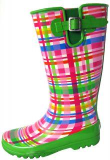 NIB SPERRY Top Sider Rain Garden Boots shoes size 7 Pelican Pink Green