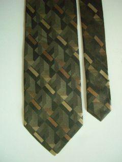 6288 Silk Necktie Mens Tie George Geometric Olive Multi