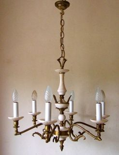 Elegant Classic Antique French 6 Light Chandelier Gilt Bronze