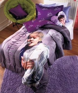 JUSTIN BIEBER 2 PIECE TWIN T SIZE COMFORTER SET GIRL BED BEDROOM