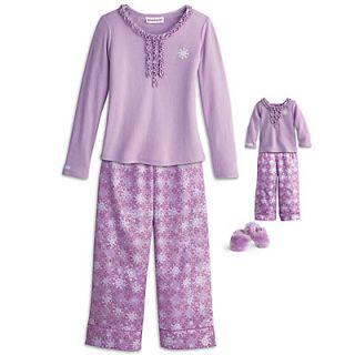 American Girl Snowflake Pajamas for Girls & Doll Size Large