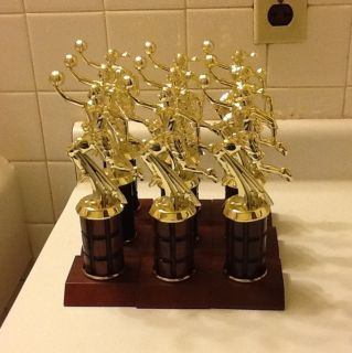 Womens or Girls Basketball Sports Trophy Real Wood Column Awards MVP