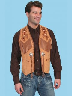 Indian Cowboy Vest Leather Brown Wahmaker Scully Western Cowboy Mens