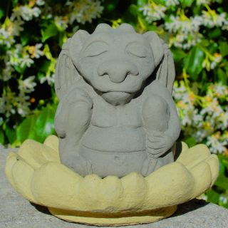 Meditating Gargoyle Buddha Stone Zen Garden Statue A