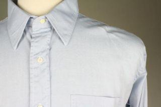 Vintage 80s Gitman Bros Blue Cotton Oxford Button Up Shirt 17 5 34