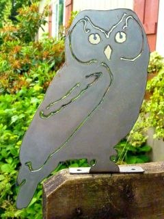 Plasma Cut Metal Post Owl Bird Garden Home Cabin Fence Pond Tree