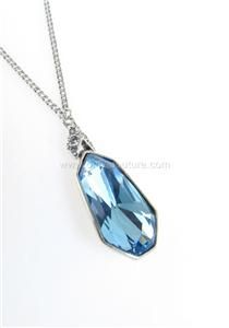 Givenchy Pave Arrow Blue Crystal Drop Pendant Silver Plated Chain
