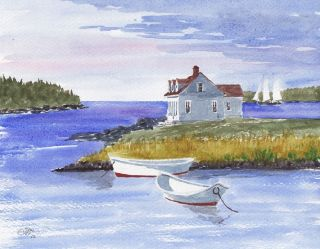 Two Dories Downeast Maine Seaside Cottage Boats New 8x10 Painting by