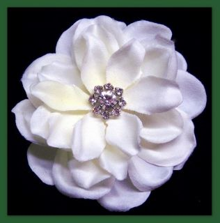 Silk Gardenia Rhinestone Diamante Ivory Hair Flower Wedding Bridal