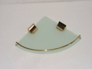 Wall Mounted Single Corner Frosted Glass Shelf in Gold