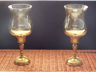 Large Brass Amber Glass Hurricane Candle Holders Pearl Sheen Globes