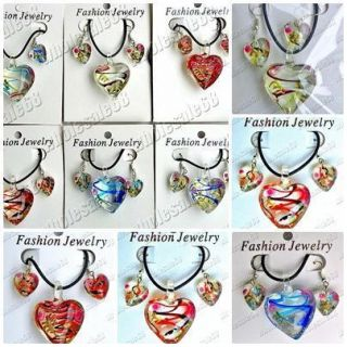 Wholesale Lots Jewelry 12SET Heart Murano Glass Pendants Necklaces