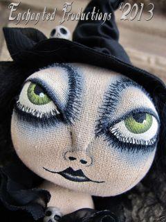 EHAG Primitive Folk Art Halloween Black Witch Wiccan Doll Joyce Stahl