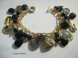 Gerard Way MCR Black and Golden Picture Charm Bracelet