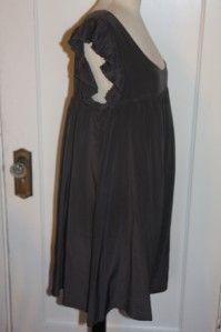 Geren Ford Charcoal Silk Pleat Ruffle Babydoll Dress Tunic Sz L New