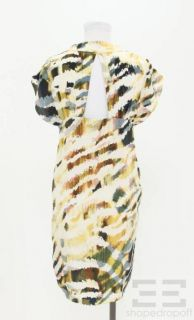 Geren Ford Navy Blue Cream Printed Silk Cut Out Dress Size S