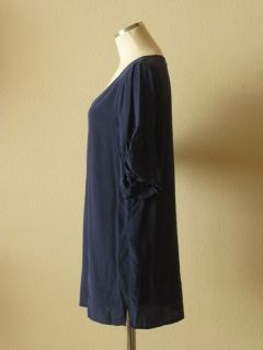 Geren Ford  Navy Blue Silk V Neck Bell Sleeve Trapeze Tunic Top