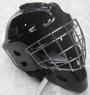 Hackva Hockey Goalie Goal Face Mask Helmet Small Black Chrome Cage
