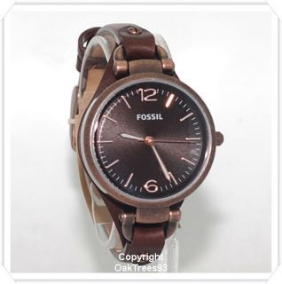 Fossil Womens Georgia Brown Leather Watch ES3200