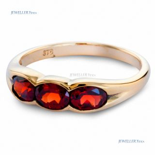 Antique Style Oval Garnet 9K 9ct Solid Yellow Gold Ring