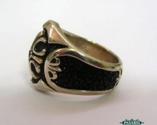 Massive Sterling Silver Onyx and Garnet Tibetan Ring
