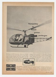 1962 Republic Lark Helicopter Garrett Turbine Engine Ad