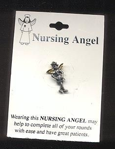 Nurse Guardian Angel Pewter N Gold Pin Nursing Medical