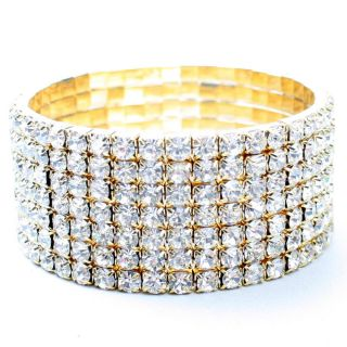 Gold 7 Row Crystal Rhinestone Party Prom Wedding Women Bracelet Bangle